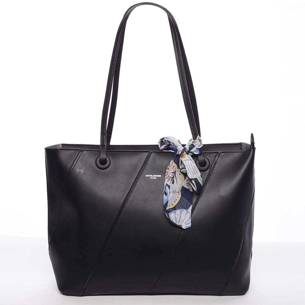 f9dd8b808 Veľká elegantná a originálna dámska čierna kabelka cez rameno - David Jones  Keiko ...