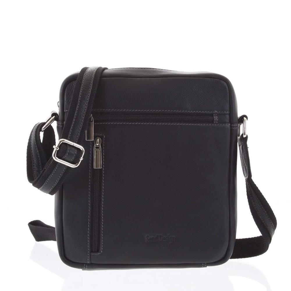 0c5dc58a23 Čierna luxusná kožená pánska taška - Sendi Design IG987 - Kabea.cz