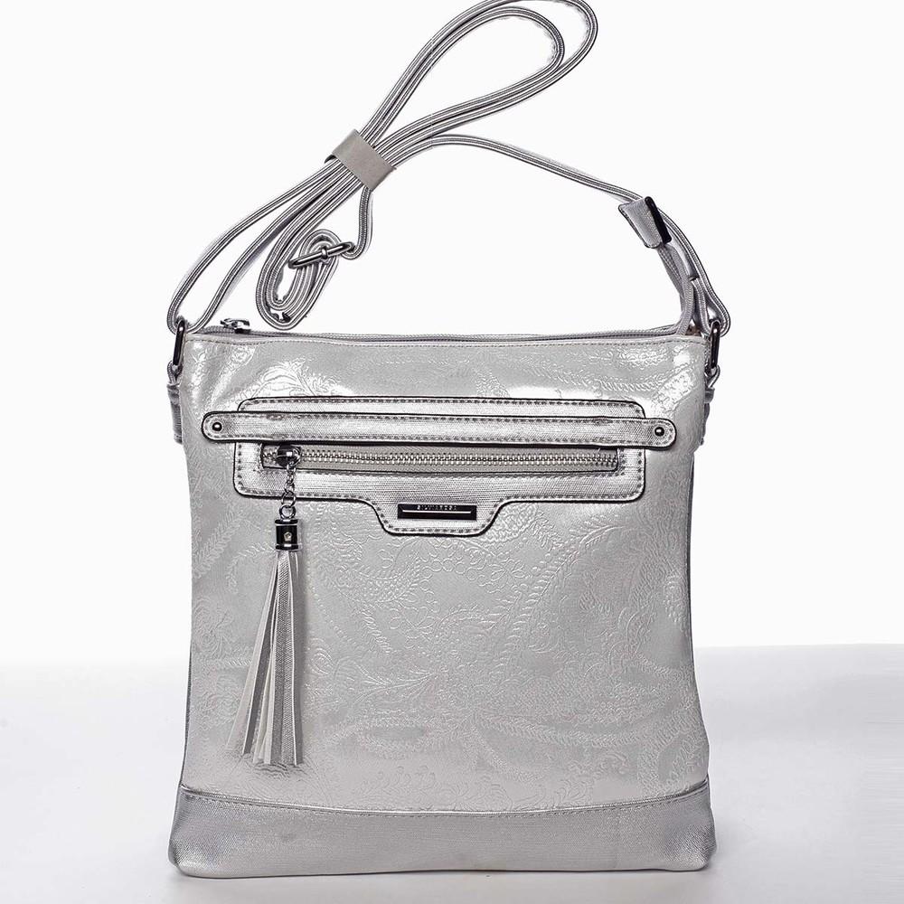 a93e23668 Módna dámska strieborná crossbody kabelka so vzorom - Silvia Rosa Gillian  ...