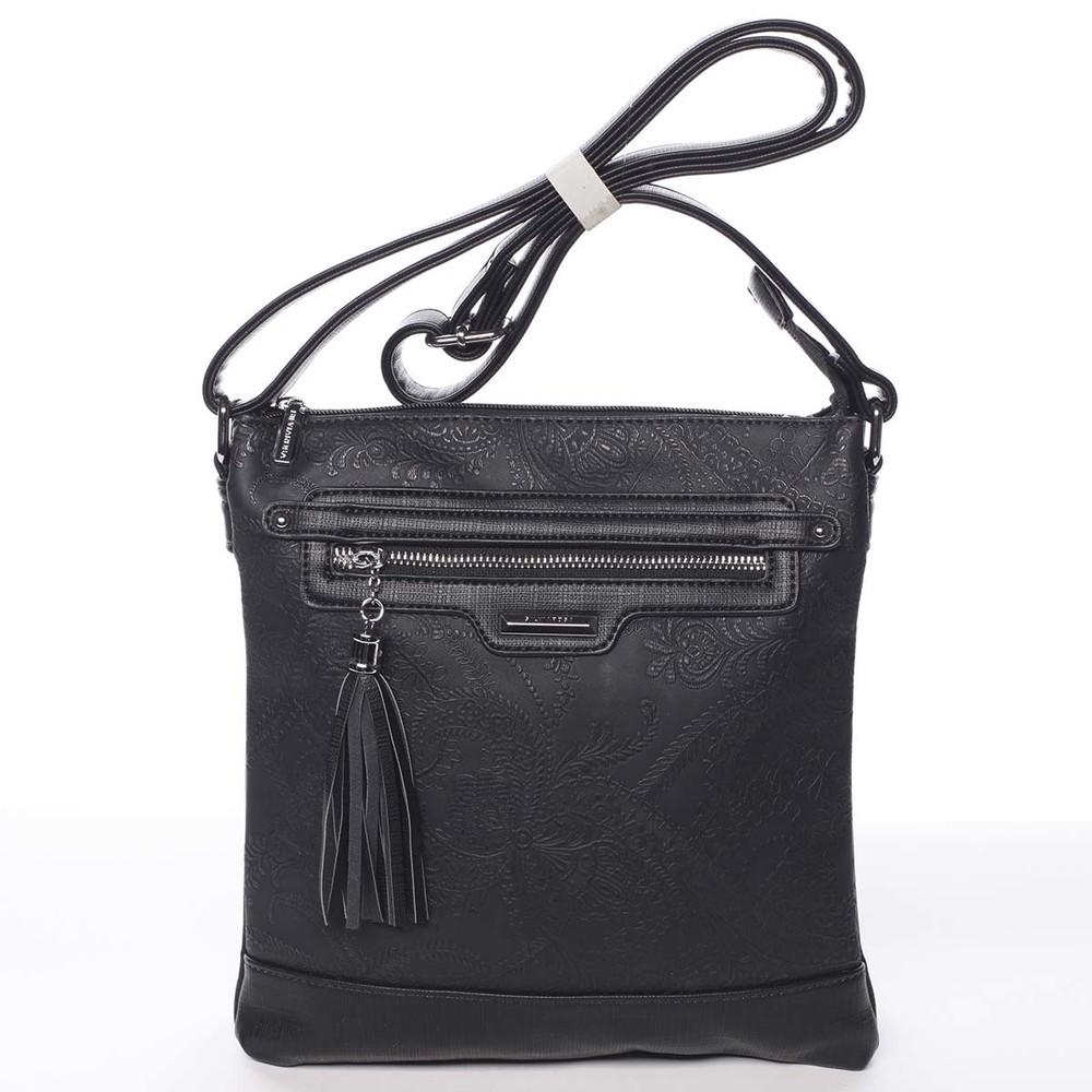 abb8a4590e Módna dámska čierna crossbody kabelka so vzorom - Silvia Rosa Gillian ...