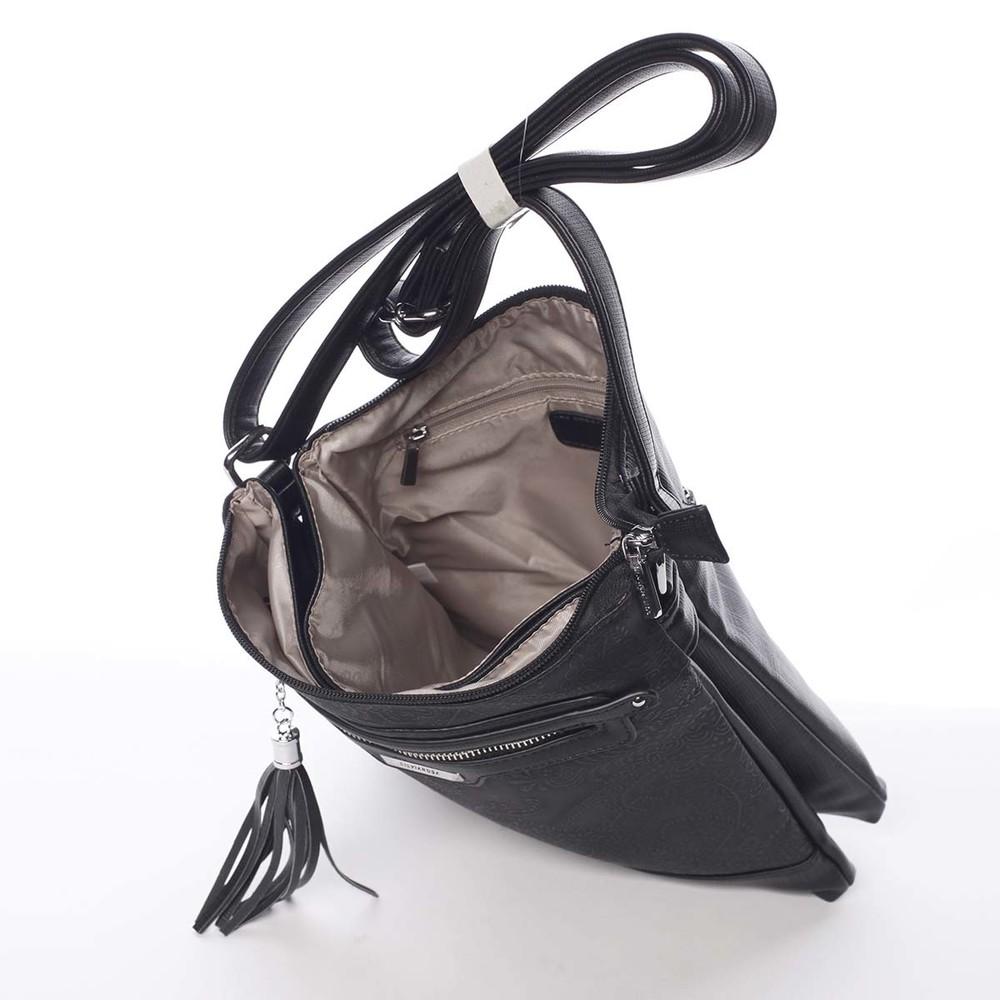16ceecb869 ... Módna dámska čierna crossbody kabelka so vzorom - Silvia Rosa Gillian