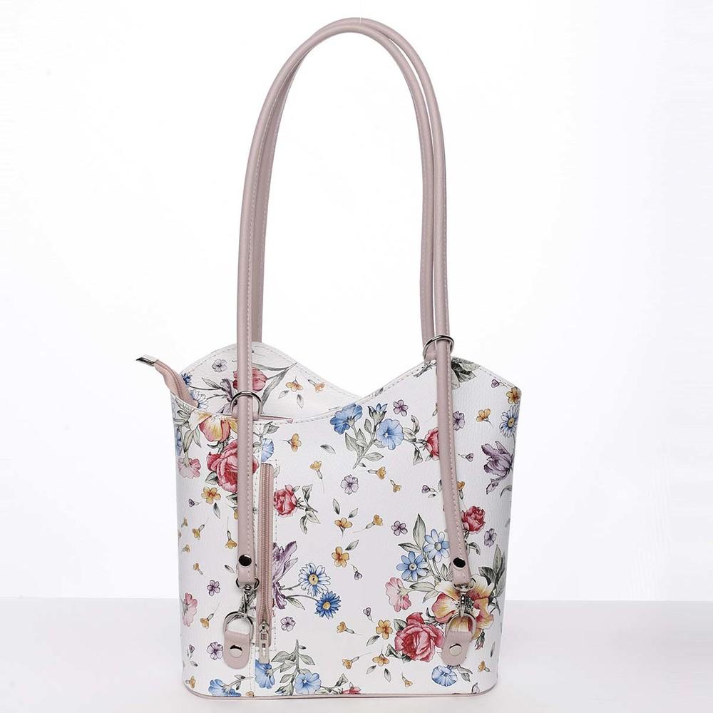 dcf0f9c49 Dámska kožená kabelka batôžtek kvetinová ružová - ItalY Larry - Kabea.cz
