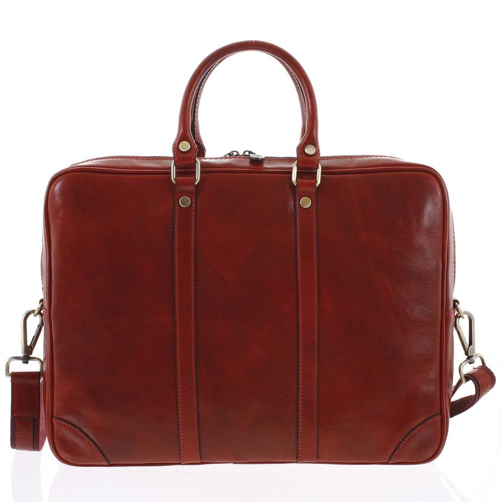 096dcb3fc8 Kožená business taška červená - ItalY Paolo - Kabea.cz