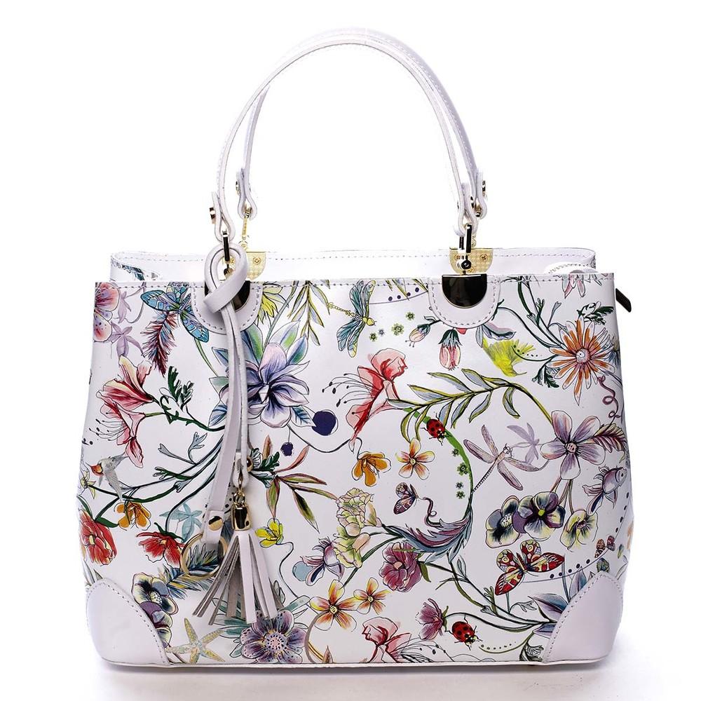 f6374283e Originálna dámska kožená kabelka kvetinová biela - ItalY Mattie ...
