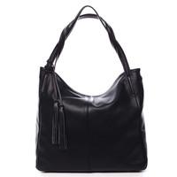 2d086788f4 Veľká dámska kožená kabelka čierna - ItalY Janeth